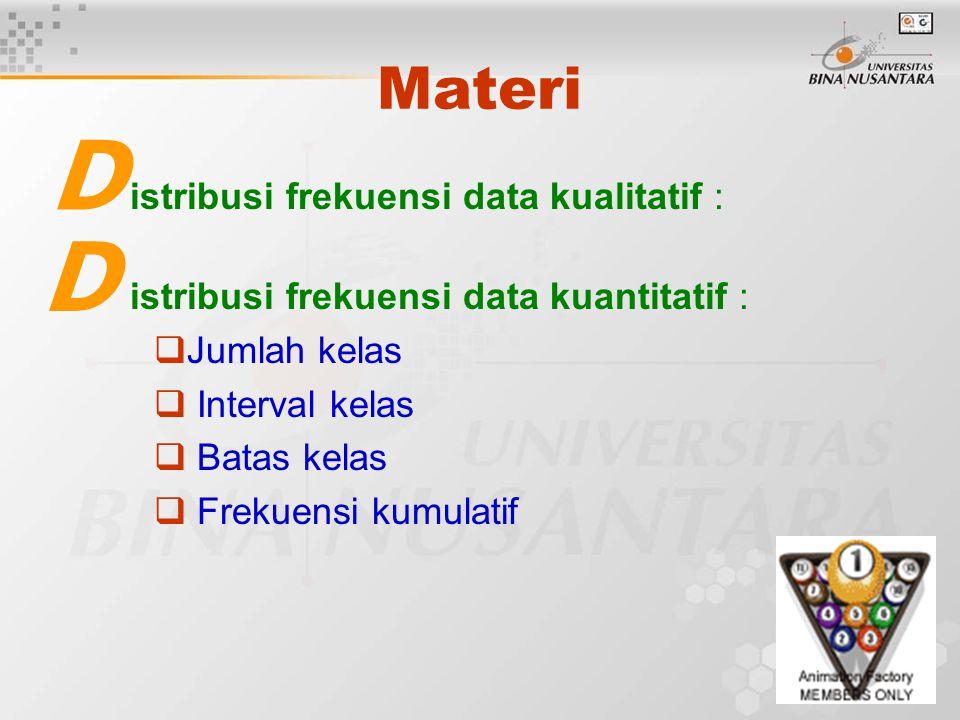 Materi istribusi frekuensi data kualitatif : istribusi frekuensi data kuantitatif :  Jumlah kelas  Interval kelas  Batas kelas  Frekuensi kumulati