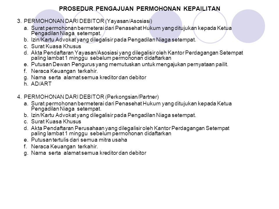 PROSEDUR PENGAJUAN PERMOHONAN KEPAILITAN 3.PERMOHONAN DARI DEBITOR (Yayasan/Asosiasi) a. Surat permohonan bermeterai dari Penasehat Hukum yang ditujuk
