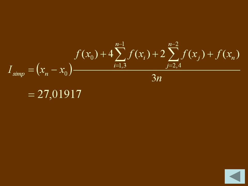 00,00 10,250,26612 20,500,64201 30,751,31629 41,002,71828 51,255,96342 61,5014,23160 71,7537,41665 82,00109,19630 i xixi f(x i ) c. Untuk n = 8 maka h
