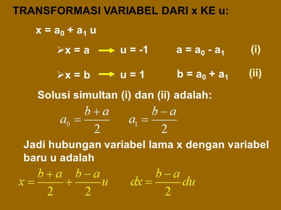 Integran f(x) dengan batas-batas dari x = a s/d x = b ditransformasi ke integran F(u) dengan batas-batas dari u = -1 s/d u = 1. 3. GAUSS-QUADRATURE Tr