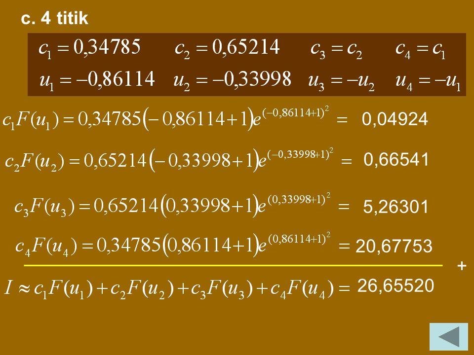 b. 3 titik + Dari tabel: 0,13175 2,41625 22,98867 25,53667