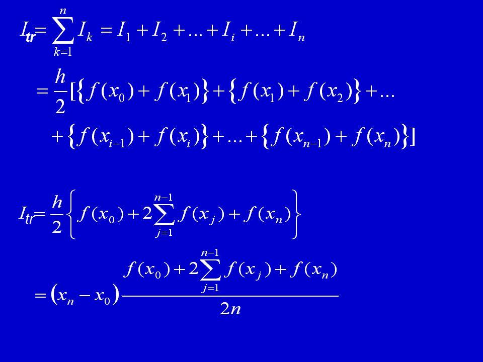 xnxn x0x0 Multipel Segmen: h f(x i ) f(x i-1 ) IiIi Luas trapesium ke i: