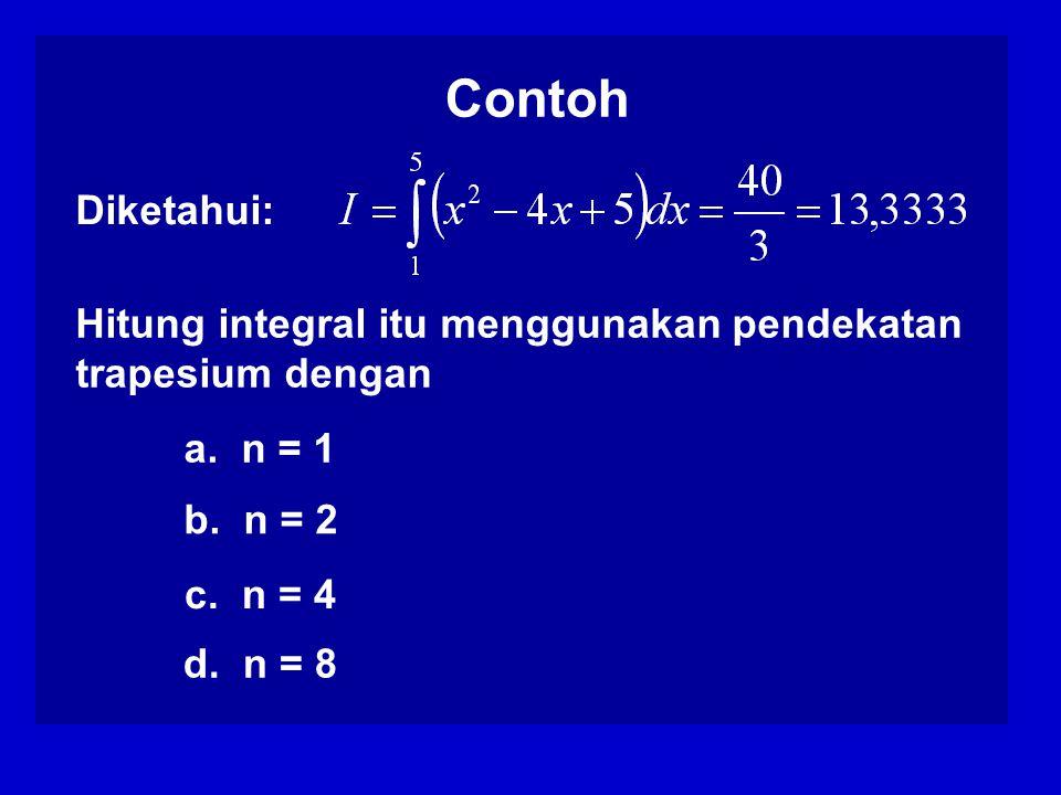 Hitung integral itu menggunakan pendekatan trapesium dengan a.