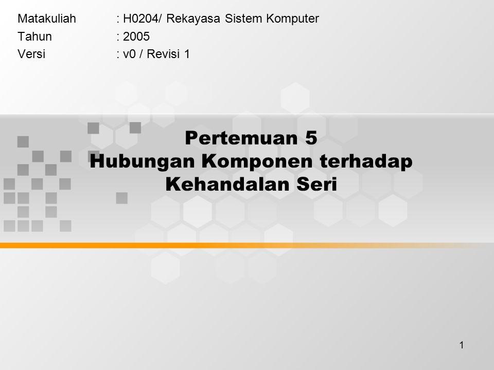 1 Pertemuan 5 Hubungan Komponen terhadap Kehandalan Seri Matakuliah: H0204/ Rekayasa Sistem Komputer Tahun: 2005 Versi: v0 / Revisi 1