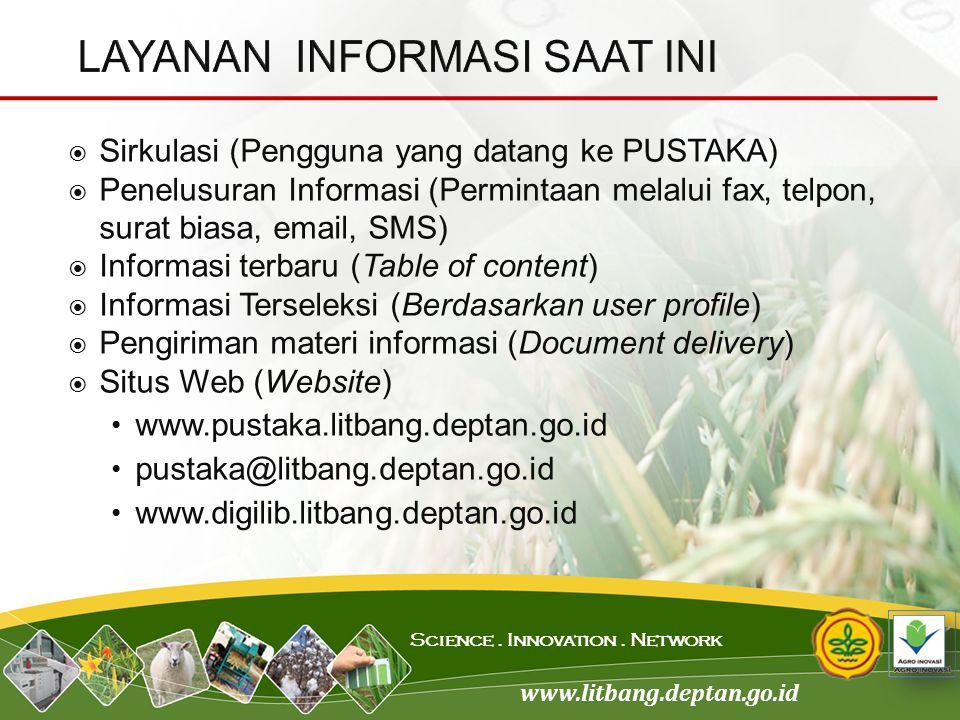 www.litbang.deptan.go.id Science. Innovation. Network  Sirkulasi (Pengguna yang datang ke PUSTAKA)  Penelusuran Informasi (Permintaan melalui fax, t
