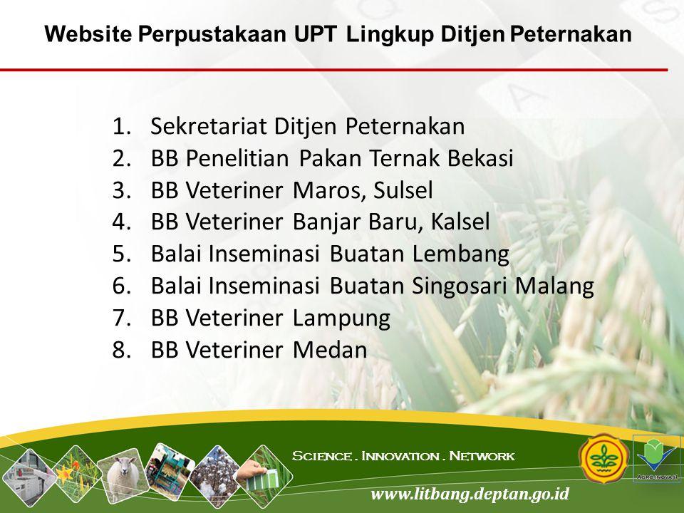 www.litbang.deptan.go.id Science. Innovation. Network 1.Sekretariat Ditjen Peternakan 2.BB Penelitian Pakan Ternak Bekasi 3.BB Veteriner Maros, Sulsel