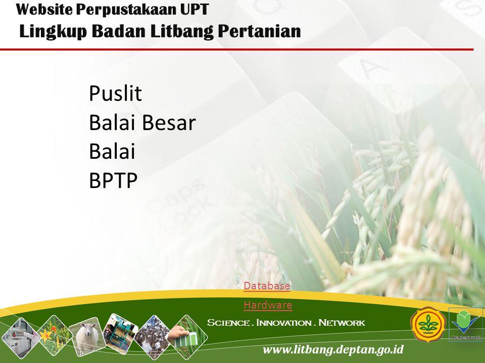 www.litbang.deptan.go.id Science. Innovation. Network Puslit Balai Besar Balai BPTP Database Hardware