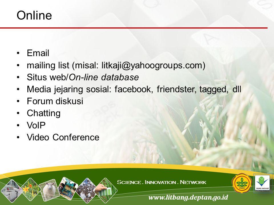 www.litbang.deptan.go.id Science. Innovation. Network Email mailing list (misal: litkaji@yahoogroups.com) Situs web/On-line database Media jejaring so