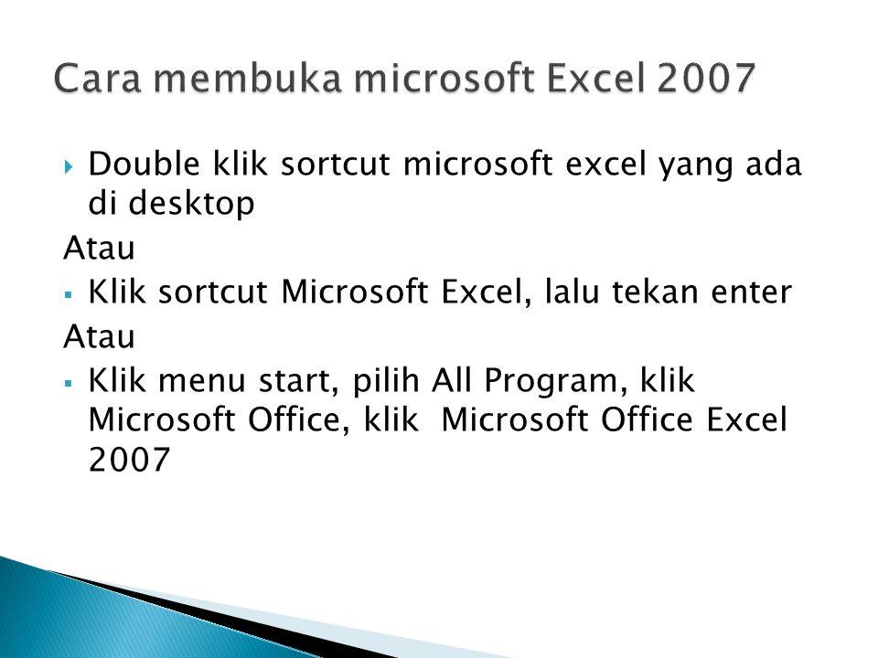 DDouble klik sortcut microsoft excel yang ada di desktop Atau KKlik sortcut Microsoft Excel, lalu tekan enter Atau KKlik menu start, pilih All Program, klik Microsoft Office, klik Microsoft Office Excel 2007
