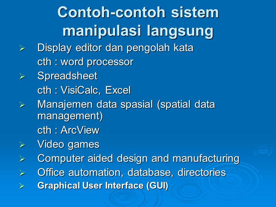 Contoh-contoh sistem manipulasi langsung  Display editor dan pengolah kata cth : word processor  Spreadsheet cth : VisiCalc, Excel  Manajemen data