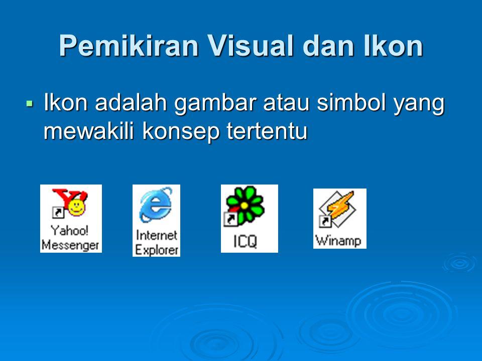 Pedoman perancangan ikon :  Representasikan objek atau aksi dengan cara yang dikenal  Batasi jumlah ikon yang berbeda  Buat ikon jelas terlihat dari latar belakangnya  Pertimbangkan ikon tiga dimensi; bagus dilihat tapi dapat mengalihkan perhatian