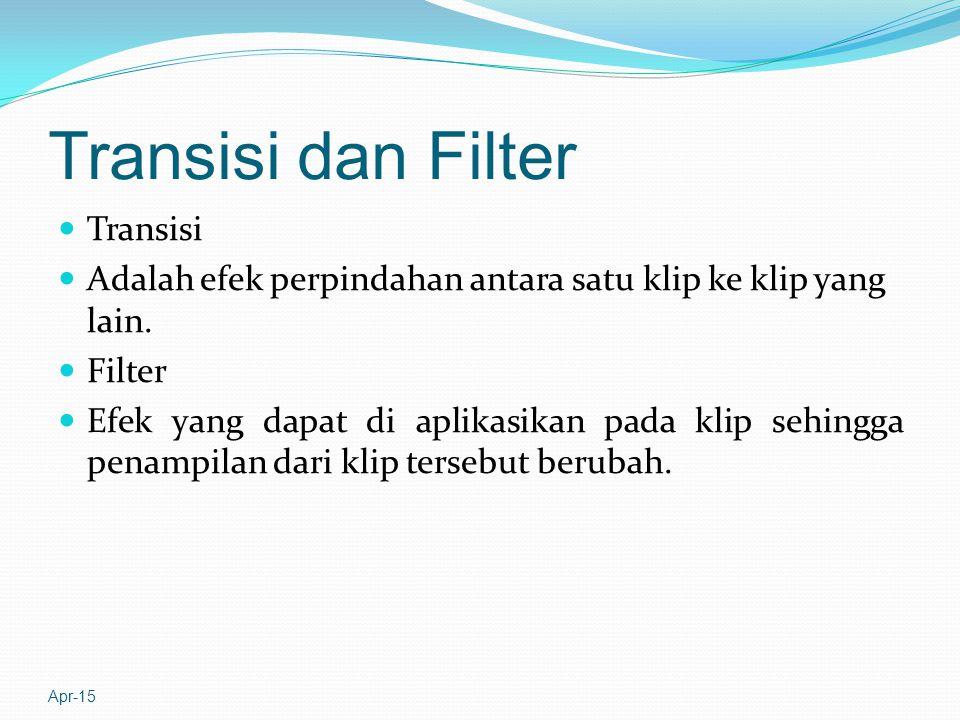 Transisi dan Filter Transisi Adalah efek perpindahan antara satu klip ke klip yang lain.