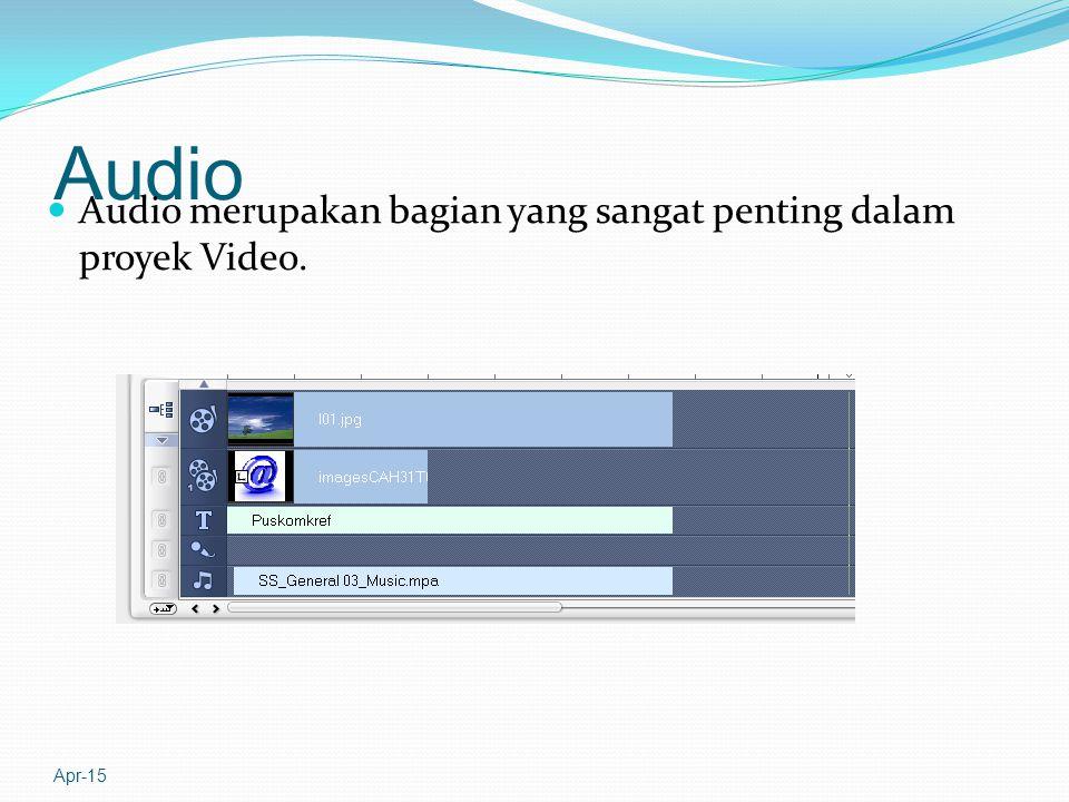 Audio Audio merupakan bagian yang sangat penting dalam proyek Video. Apr-15