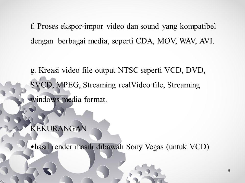 9 f. Proses ekspor-impor video dan sound yang kompatibel dengan berbagai media, seperti CDA, MOV, WAV, AVI. g. Kreasi video file output NTSC seperti V