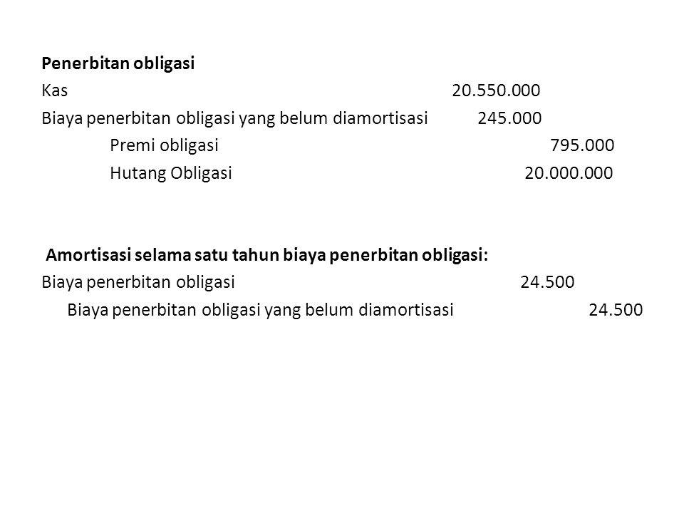 Penerbitan obligasi Kas20.550.000 Biaya penerbitan obligasi yang belum diamortisasi 245.000 Premi obligasi 795.000 Hutang Obligasi 20.000.000 Amortisasi selama satu tahun biaya penerbitan obligasi: Biaya penerbitan obligasi24.500 Biaya penerbitan obligasi yang belum diamortisasi24.500