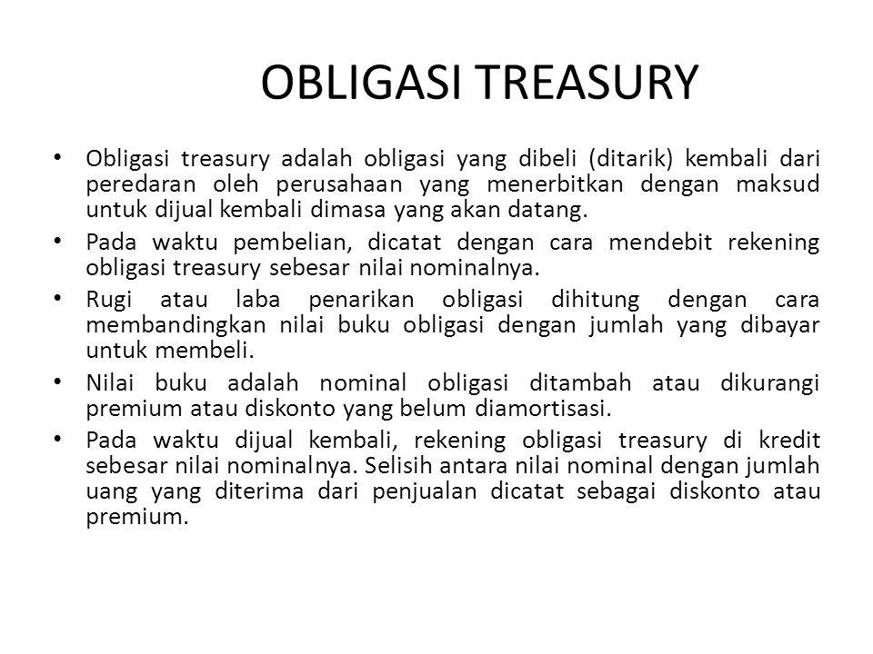 OBLIGASI TREASURY Obligasi treasury adalah obligasi yang dibeli (ditarik) kembali dari peredaran oleh perusahaan yang menerbitkan dengan maksud untuk dijual kembali dimasa yang akan datang.