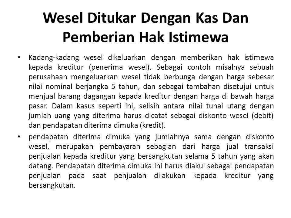 Wesel Ditukar Dengan Kas Dan Pemberian Hak Istimewa Kadang-kadang wesel dikeluarkan dengan memberikan hak istimewa kepada kreditur (penerima wesel).