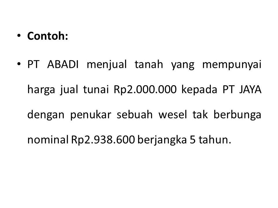 Contoh: PT ABADI menjual tanah yang mempunyai harga jual tunai Rp2.000.000 kepada PT JAYA dengan penukar sebuah wesel tak berbunga nominal Rp2.938.600 berjangka 5 tahun.