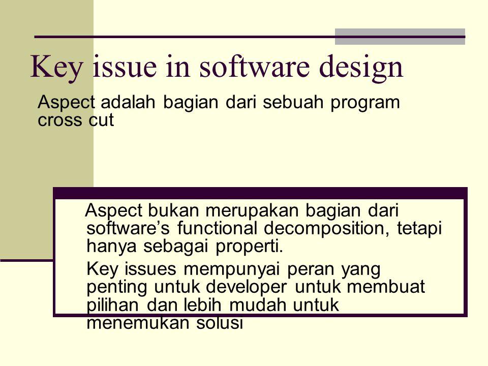 Key issue in software design Aspect adalah bagian dari sebuah program cross cut Aspect bukan merupakan bagian dari software's functional decomposition