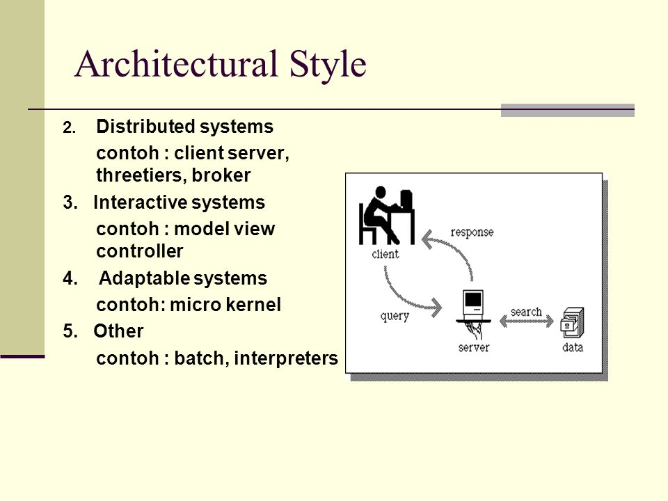 Architectural Style 2. Distributed systems contoh : client server, threetiers, broker 3. Interactive systems contoh : model view controller 4. Adaptab