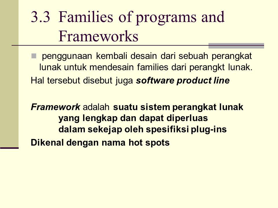 3.3 Families of programs and Frameworks penggunaan kembali desain dari sebuah perangkat lunak untuk mendesain families dari perangkt lunak. Hal terseb
