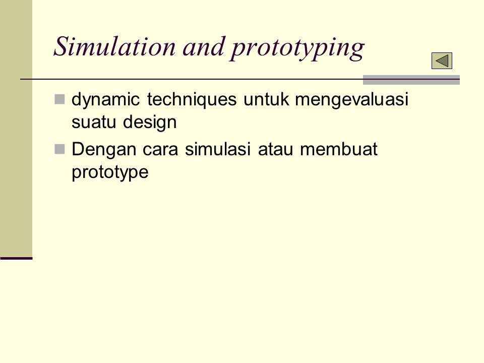 Simulation and prototyping dynamic techniques untuk mengevaluasi suatu design Dengan cara simulasi atau membuat prototype