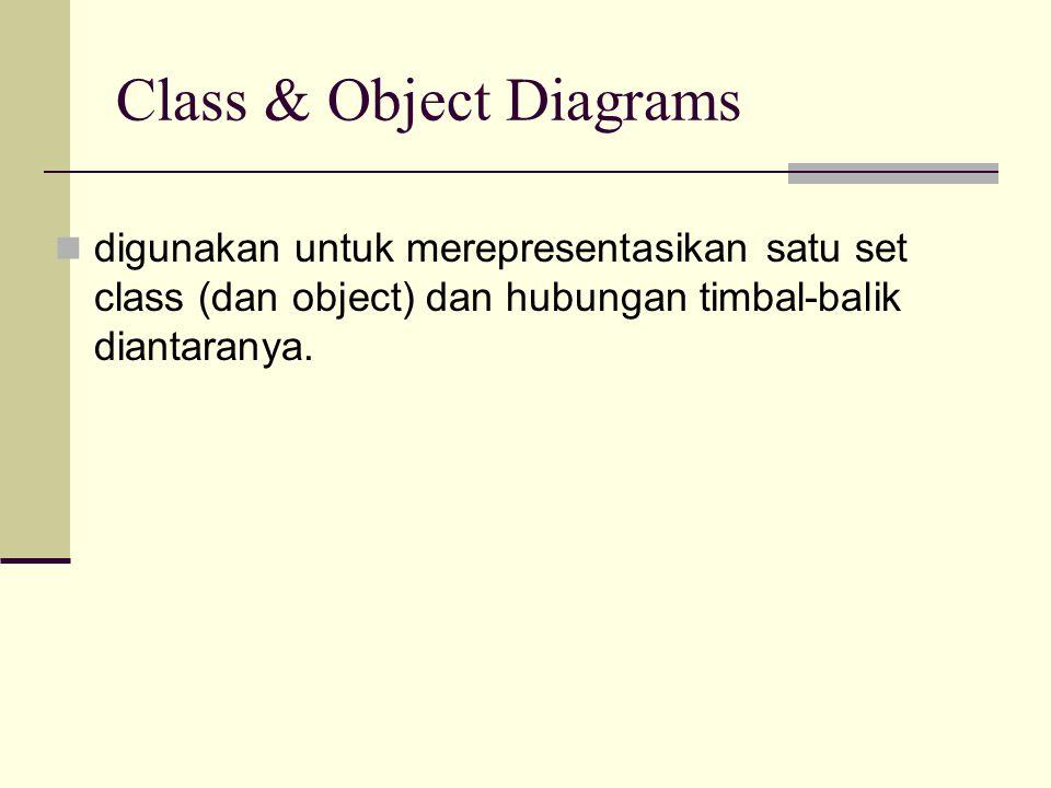 Class & Object Diagrams digunakan untuk merepresentasikan satu set class (dan object) dan hubungan timbal-balik diantaranya.