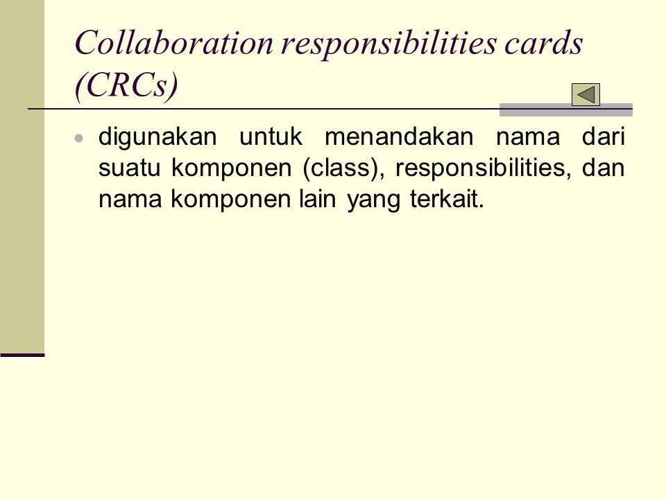 Collaboration responsibilities cards (CRCs)  digunakan untuk menandakan nama dari suatu komponen (class), responsibilities, dan nama komponen lain ya