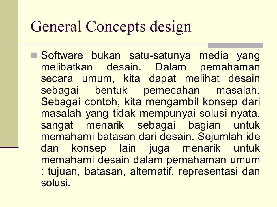 General Concepts design Software bukan satu-satunya media yang melibatkan desain. Dalam pemahaman secara umum, kita dapat melihat desain sebagai bentu