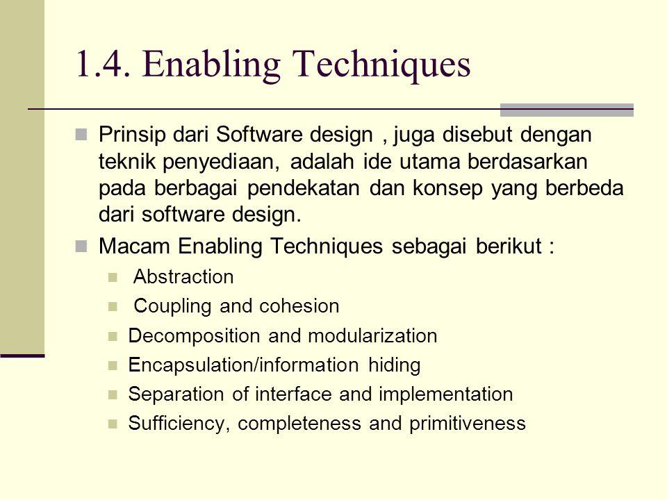 1.4. Enabling Techniques Prinsip dari Software design, juga disebut dengan teknik penyediaan, adalah ide utama berdasarkan pada berbagai pendekatan da