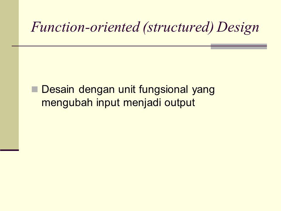 Function-oriented (structured) Design Desain dengan unit fungsional yang mengubah input menjadi output