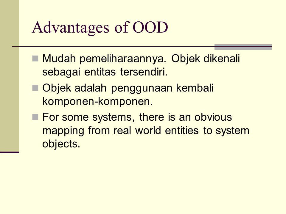 Advantages of OOD Mudah pemeliharaannya. Objek dikenali sebagai entitas tersendiri. Objek adalah penggunaan kembali komponen-komponen. For some system