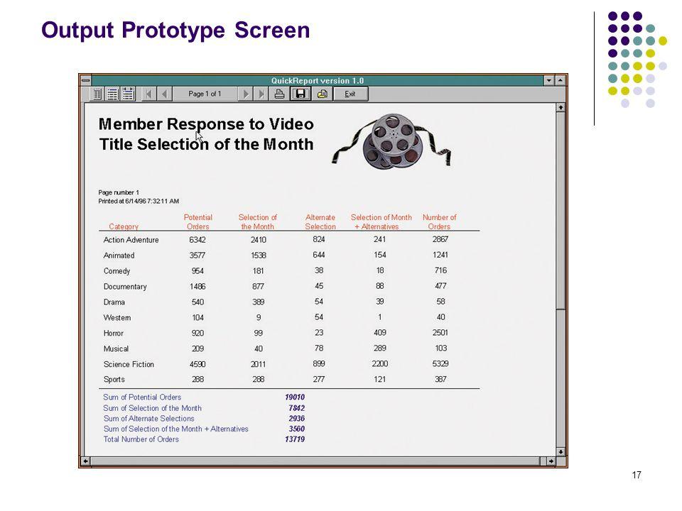 17 Output Prototype Screen