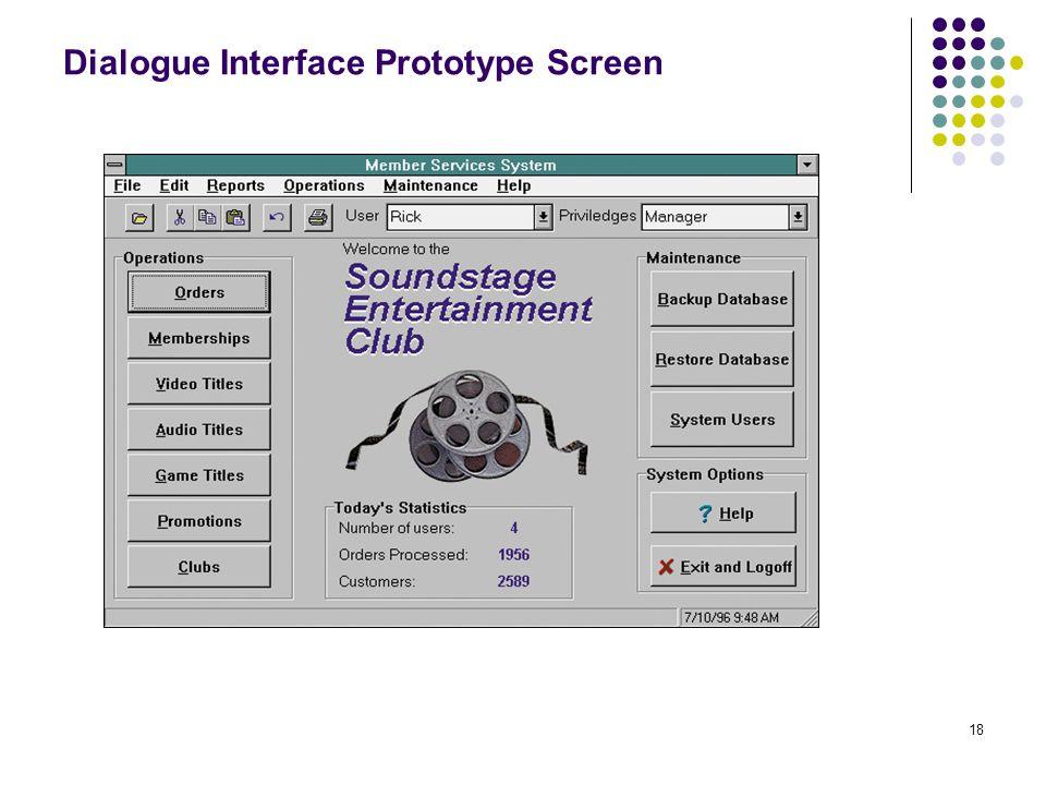18 Dialogue Interface Prototype Screen