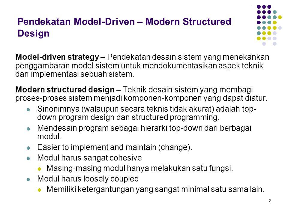 2 Pendekatan Model-Driven – Modern Structured Design Model-driven strategy – Pendekatan desain sistem yang menekankan penggambaran model sistem untuk