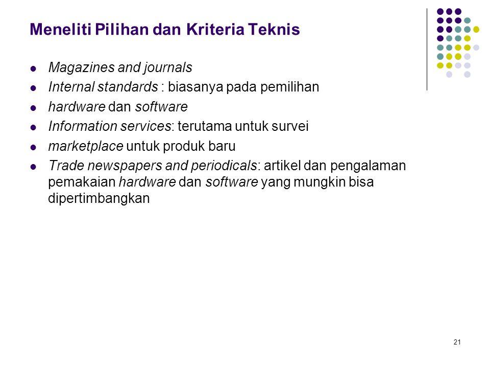 21 Meneliti Pilihan dan Kriteria Teknis Magazines and journals Internal standards : biasanya pada pemilihan hardware dan software Information services