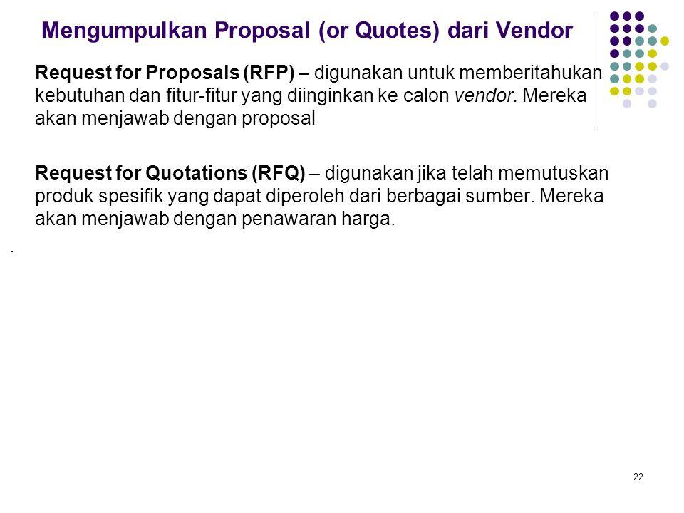 22 Mengumpulkan Proposal (or Quotes) dari Vendor Request for Proposals (RFP) – digunakan untuk memberitahukan kebutuhan dan fitur-fitur yang diinginka