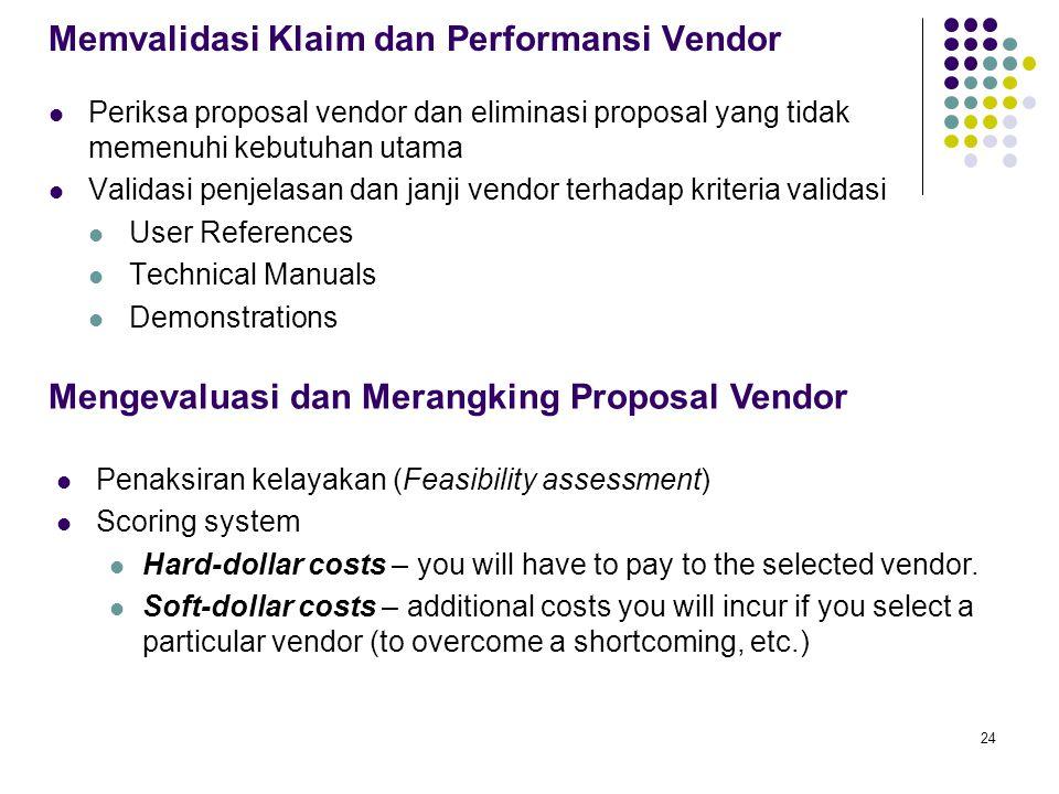 24 Memvalidasi Klaim dan Performansi Vendor Periksa proposal vendor dan eliminasi proposal yang tidak memenuhi kebutuhan utama Validasi penjelasan dan