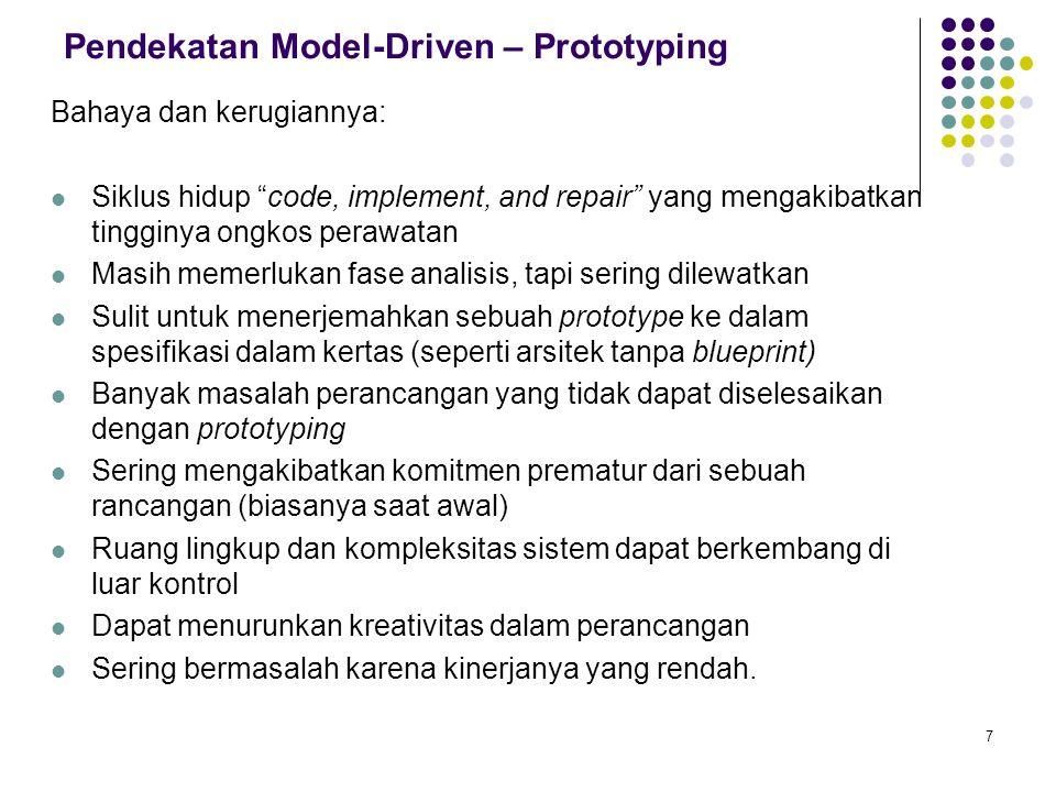 """7 Pendekatan Model-Driven – Prototyping Bahaya dan kerugiannya: Siklus hidup """"code, implement, and repair"""" yang mengakibatkan tingginya ongkos perawat"""