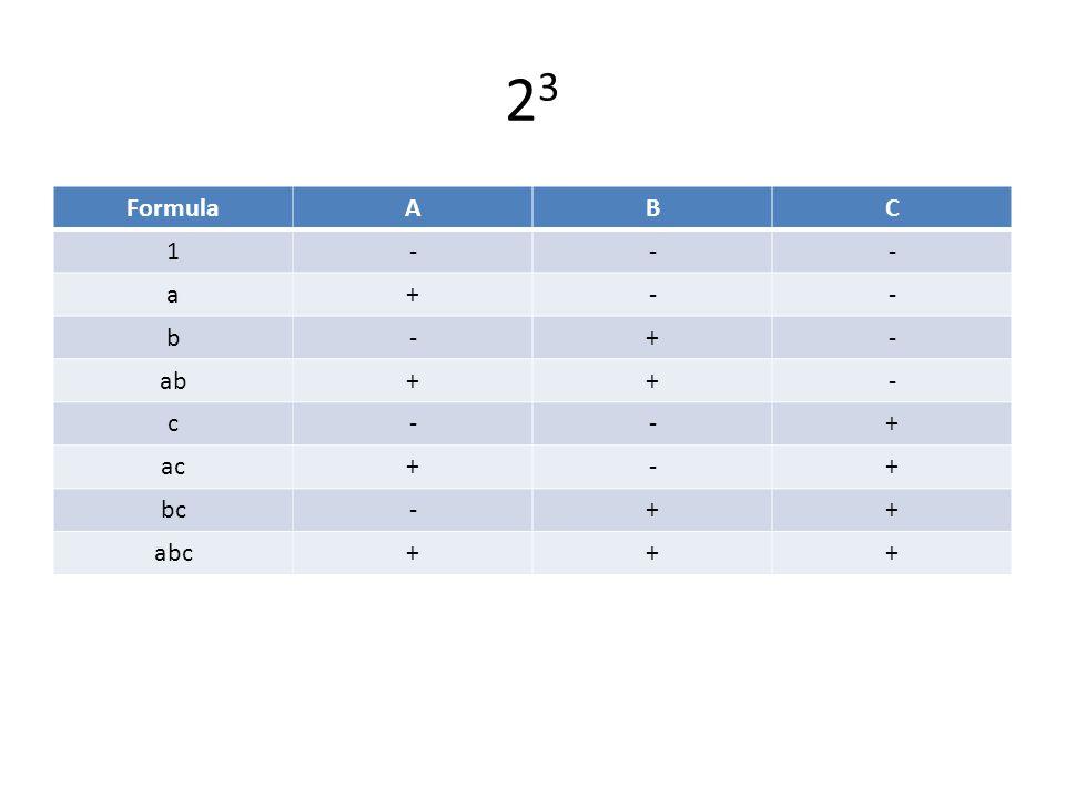 2323 FormulaABC 1--- a+-- b-+- ab++- c--+ ac+-+ bc-++ abc+++
