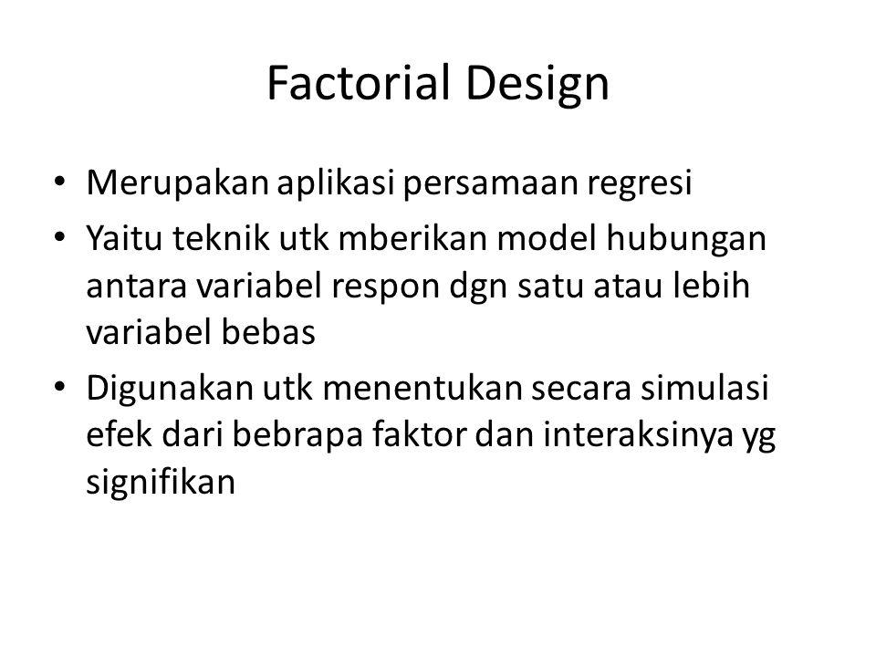 Factorial Design Merupakan aplikasi persamaan regresi Yaitu teknik utk mberikan model hubungan antara variabel respon dgn satu atau lebih variabel beb