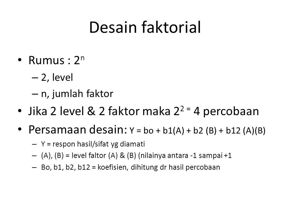 Desain faktorial Rumus : 2 n – 2, level – n, jumlah faktor Jika 2 level & 2 faktor maka 2 2 = 4 percobaan Persamaan desain: Y = bo + b1(A) + b2 (B) +