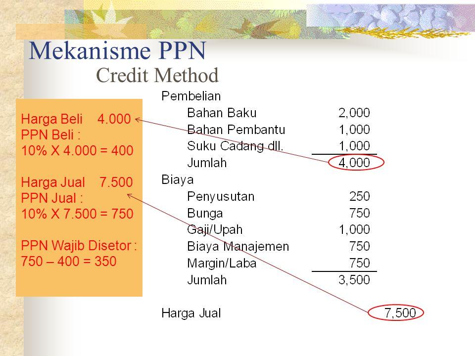 Mekanisme PPN Credit Method Harga Beli 4.000 PPN Beli : 10% X 4.000 = 400 Harga Jual 7.500 PPN Jual : 10% X 7.500 = 750 PPN Wajib Disetor : 750 – 400