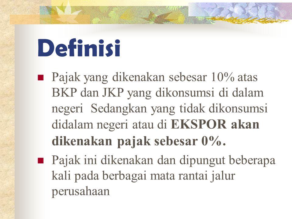 Definisi Pajak yang dikenakan sebesar 10% atas BKP dan JKP yang dikonsumsi di dalam negeri Sedangkan yang tidak dikonsumsi didalam negeri atau di EKSP