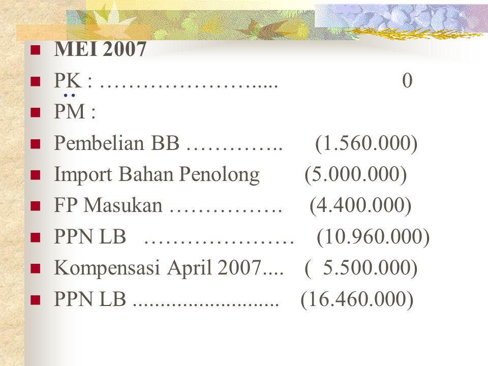 .. MEI 2007 PK : …………………..... 0 PM : Pembelian BB ………….. (1.560.000) Import Bahan Penolong (5.000.000) FP Masukan ……………. (4.400.000) PPN LB ………………… (1