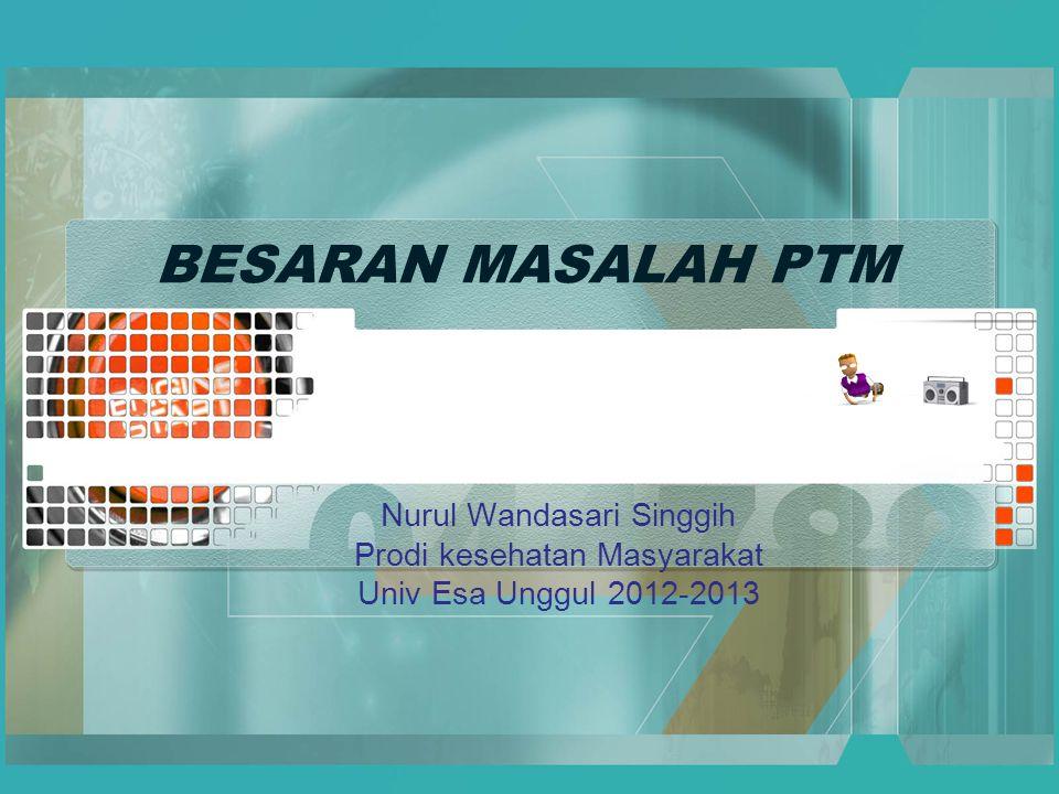BESARAN MASALAH PTM Nurul Wandasari Singgih Prodi kesehatan Masyarakat Univ Esa Unggul 2012-2013