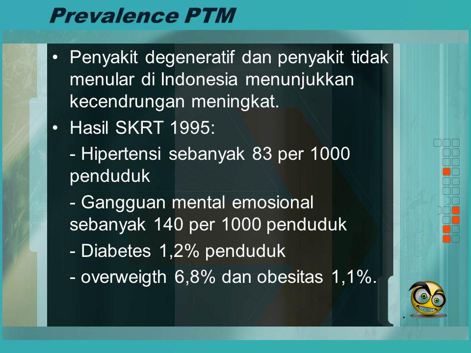 Prevalence PTM Penyakit degeneratif dan penyakit tidak menular di Indonesia menunjukkan kecendrungan meningkat. Hasil SKRT 1995: - Hipertensi sebanyak