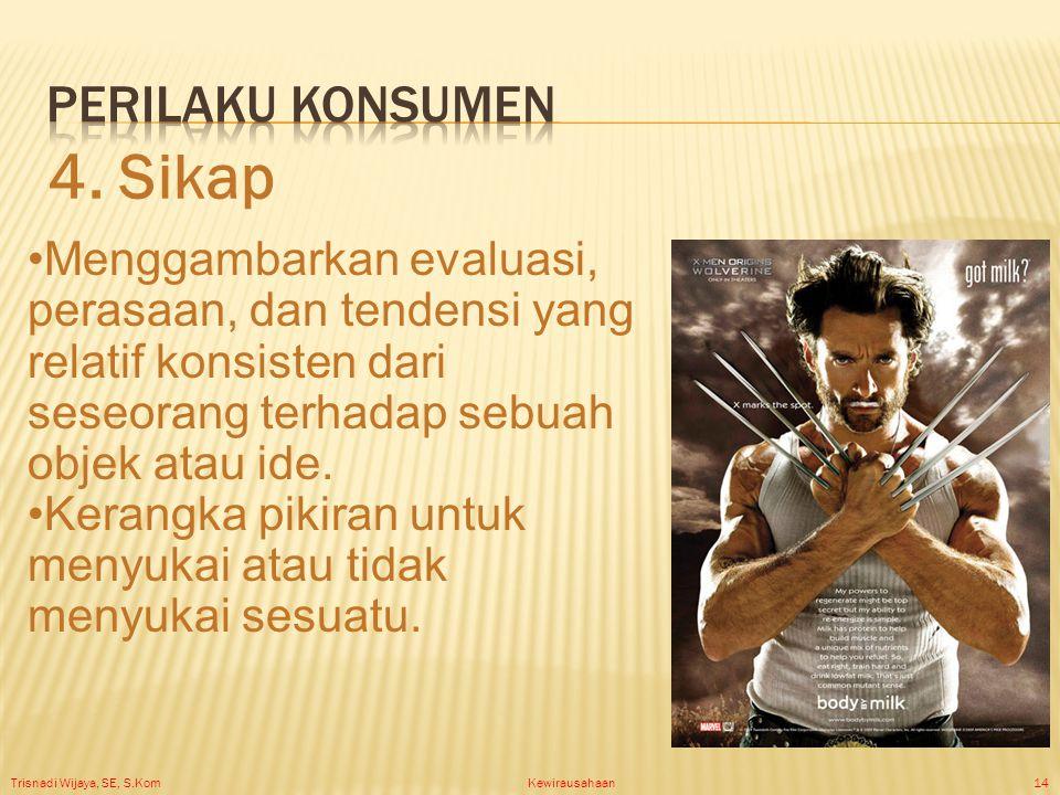 Trisnadi Wijaya, SE, S.Kom Kewirausahaan14 Menggambarkan evaluasi, perasaan, dan tendensi yang relatif konsisten dari seseorang terhadap sebuah objek atau ide.