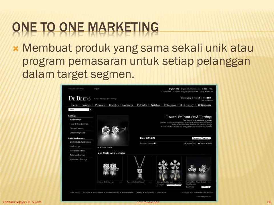 Trisnadi Wijaya, SE, S.Kom Kewirausahaan28  Membuat produk yang sama sekali unik atau program pemasaran untuk setiap pelanggan dalam target segmen.