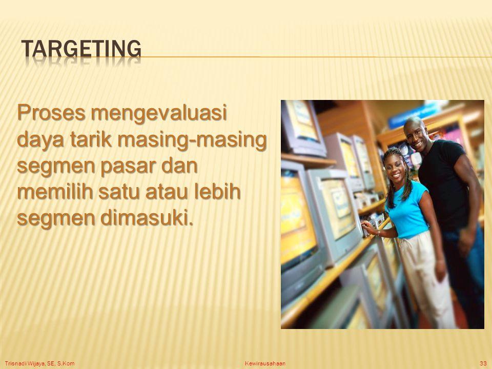 Trisnadi Wijaya, SE, S.Kom Kewirausahaan33 Proses mengevaluasi daya tarik masing-masing segmen pasar dan memilih satu atau lebih segmen dimasuki.